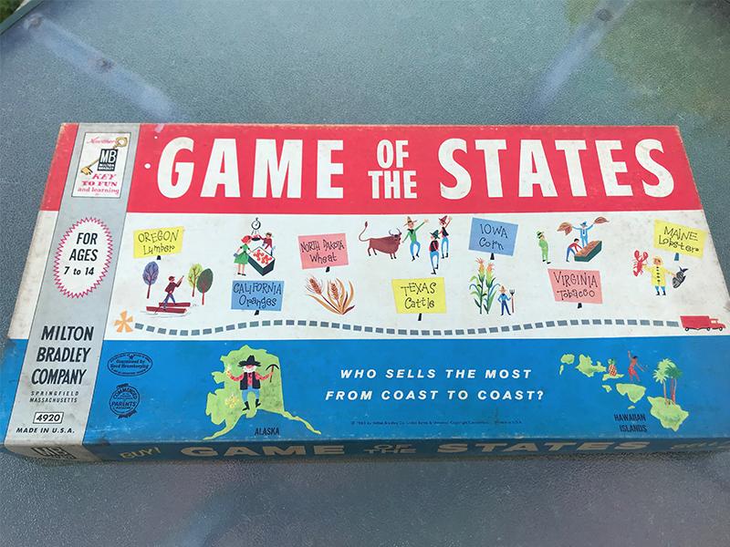Game Of The States 1960 Vintage Board Game Milton Bradley